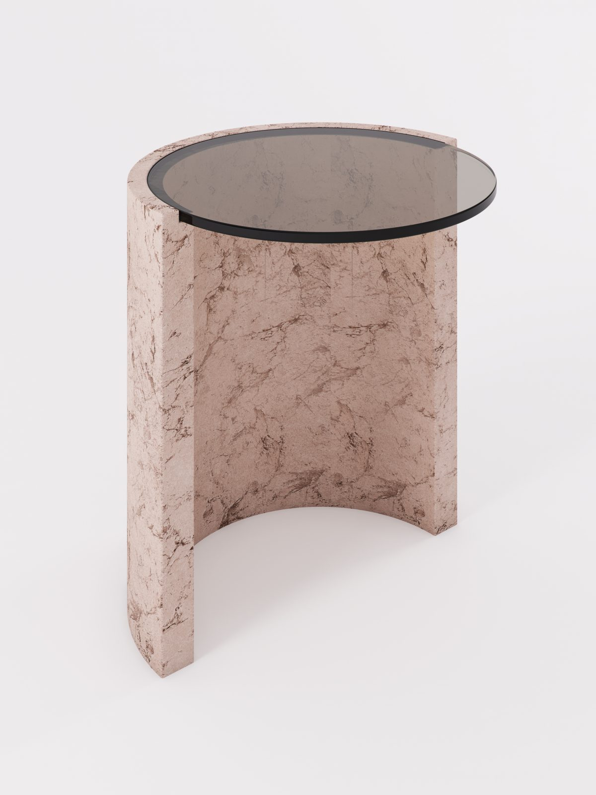 Geo side table sand bronze glass